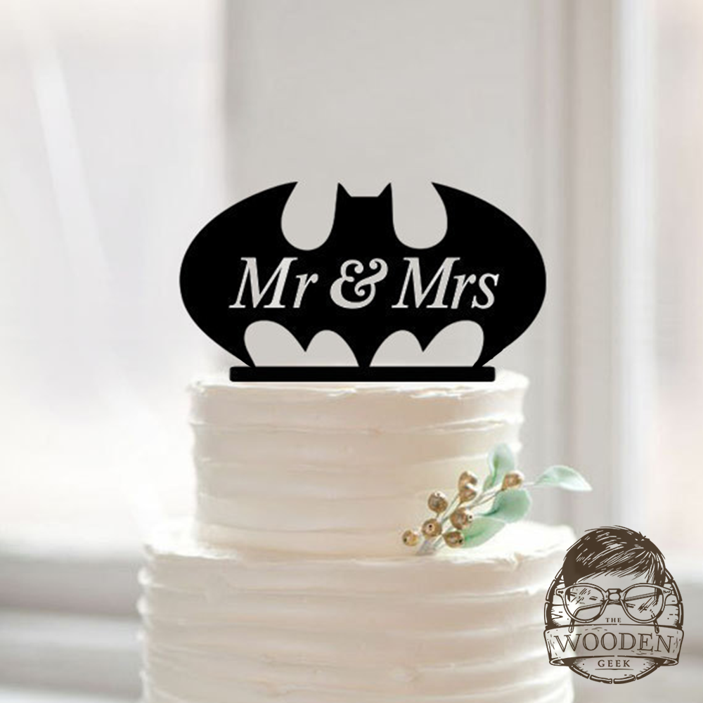 Bat wedding cake topper the wooden geek home weddings cake toppers junglespirit Image collections