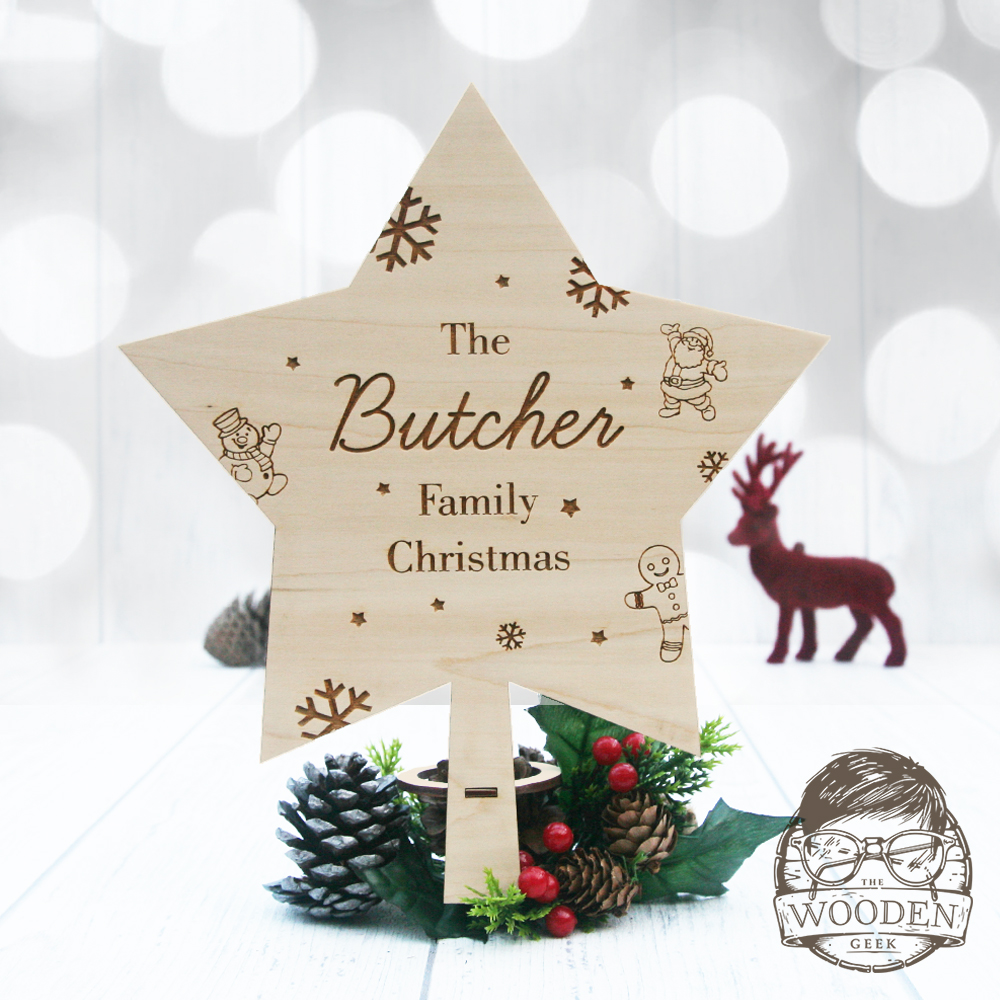 Personalised Christmas Star Tree Topper